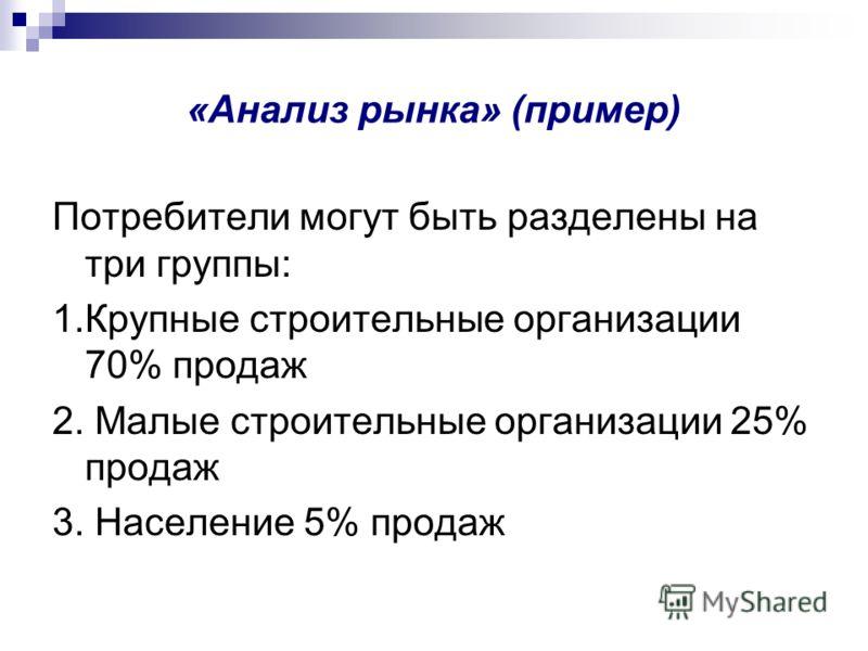 «Анализ рынка» (пример) Потребители могут быть разделены на три группы: 1.Крупные строительные организации 70% продаж 2. Малые строительные организации 25% продаж 3. Население 5% продаж