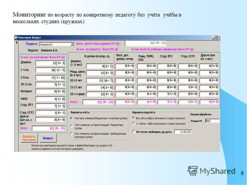 8 База данных легко позволяет произвести «Мониторинг», обычно требуемый в конце отчетного периода. Можно выполнить такой мониторинг по всему учреждению в целом, по отделу, по году обучения в учреждении.