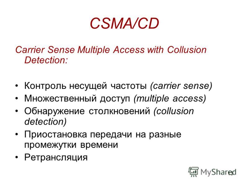 13 CSMA/CD Carrier Sense Multiple Access with Collusion Detection: Контроль несущей частоты (carrier sense) Множественный доступ (multiple access) Обнаружение столкновений (collusion detection) Приостановка передачи на разные промежутки времени Ретра