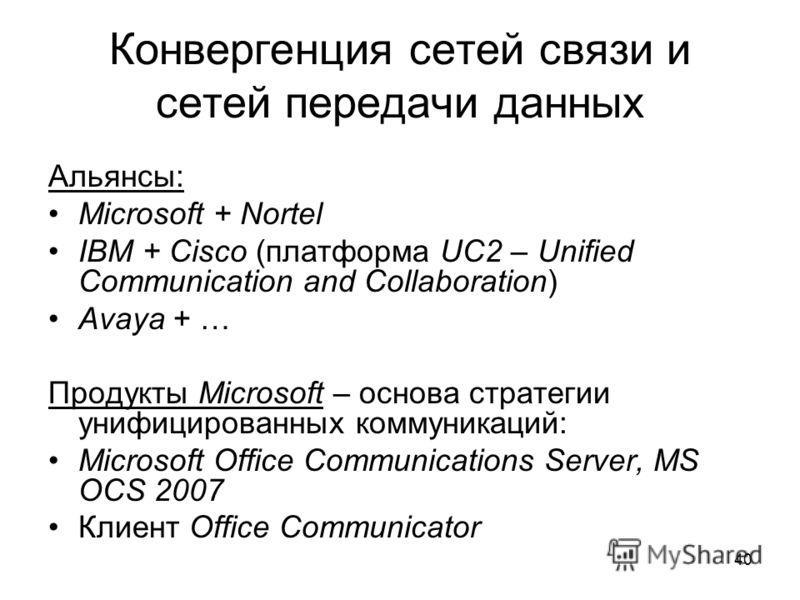 40 Конвергенция сетей связи и сетей передачи данных Альянсы: Microsoft + Nortel IBM + Cisco (платформа UC2 – Unified Communication and Collaboration) Avaya + … Продукты Microsoft – основа стратегии унифицированных коммуникаций: Microsoft Office Commu