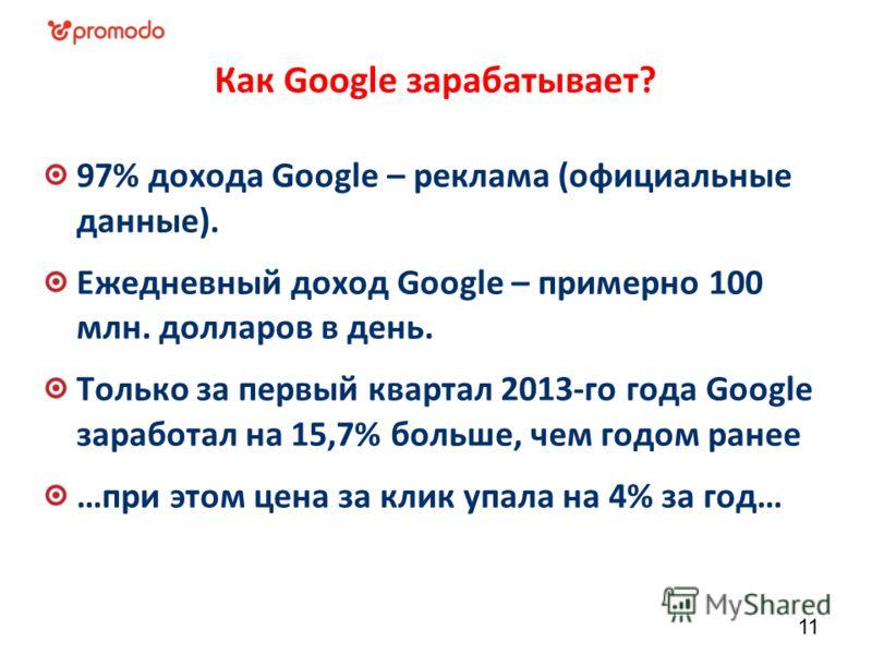 Как Google зарабатывает? 97% дохода Google – реклама (официальные данные). Ежедневный доход Google – примерно 100 млн. долларов в день. Только за первый квартал 2013-го года Google заработал на 15,7% больше, чем годом ранее …при этом цена за клик упа