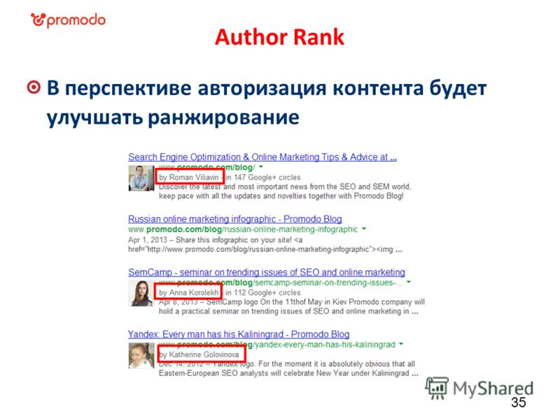 Author Rank В перспективе авторизация контента будет улучшать ранжирование 35