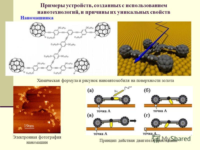 Примеры устройств, созданных с использованием нанотехнологий, и причины их уникальных свойств Наномашинка Химическая формула и рисунок наноавтомобиля на поверхности золота Электронная фотография наномашин Принцип действия двигателя наномашин