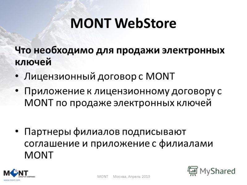 MONT WebStore Что необходимо для продажи электронных ключей Лицензионный договор с MONT Приложение к лицензионному договору с MONT по продаже электронных ключей Партнеры филиалов подписывают соглашение и приложение с филиалами MONT MONT Москва, Апрел