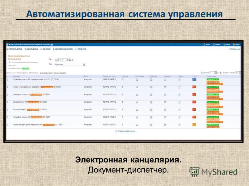 Автоматизированная система управления Электронная канцелярия. Документ-диспетчер.