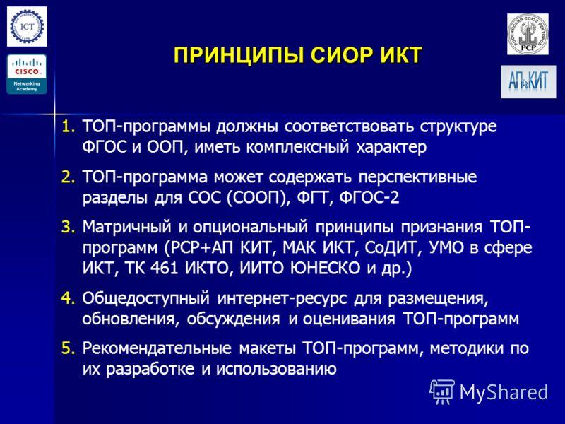 ПРИНЦИПЫ СИОР ИКТ 1. 1.ТОП-программы должны соответствовать структуре ФГОС и ООП, иметь комплексный характер 2. 2.ТОП-программа может содержать перспективные разделы для СОС (СООП), ФГТ, ФГОС-2 3. 3.Матричный и опциональный принципы признания ТОП- пр