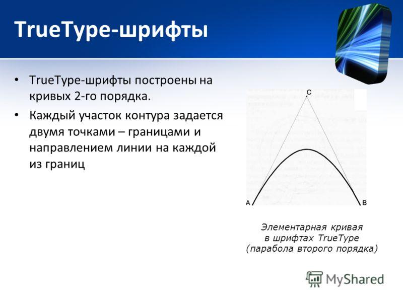 TrueType-шрифты TrueType-шрифты построены на кривых 2-го порядка. Каждый участок контура задается двумя точками – границами и направлением линии на каждой из границ Элементарная кривая в шрифтах TrueType (парабола второго порядка)