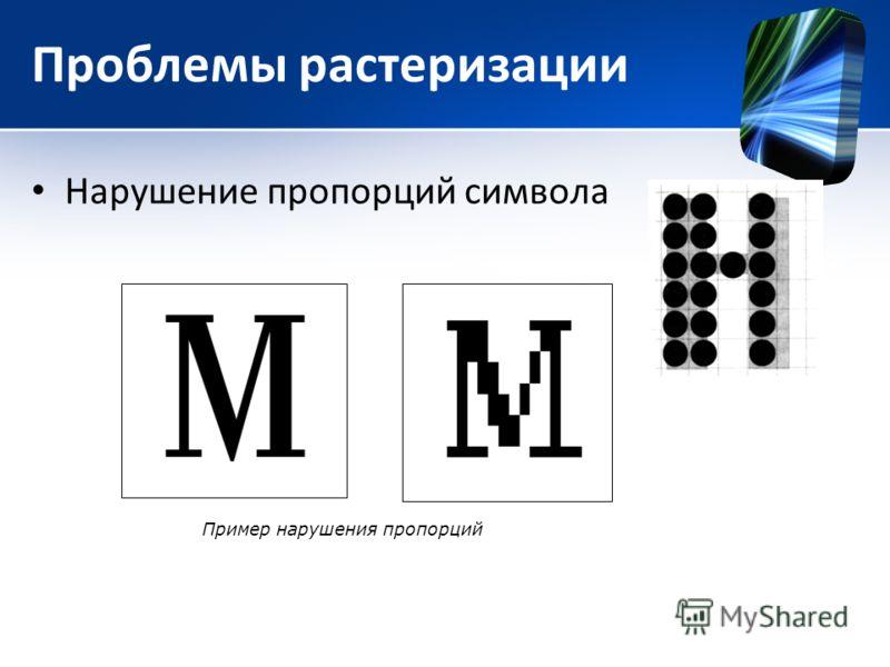 Проблемы растеризации Нарушение пропорций символа Пример нарушения пропорций