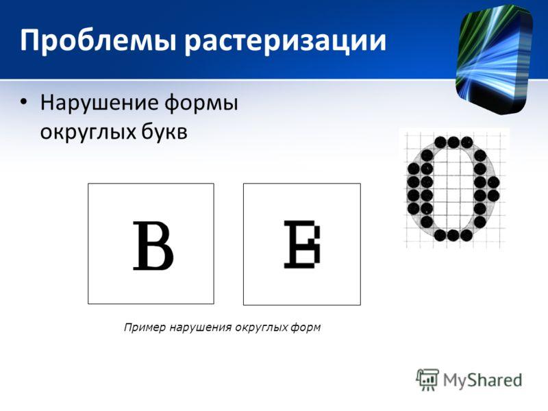Проблемы растеризации Нарушение формы округлых букв Пример нарушения округлых форм