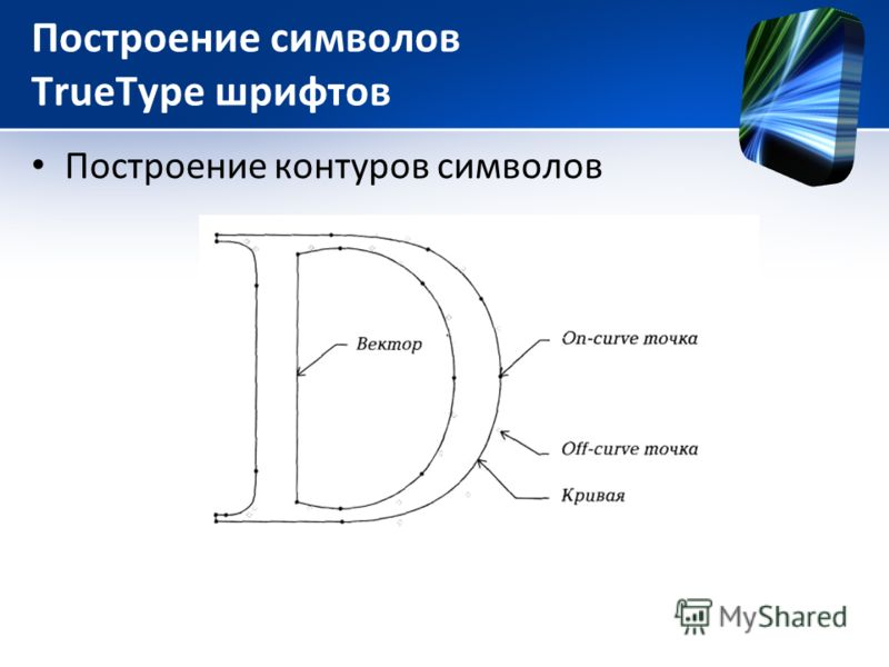 Построение символов TrueType шрифтов Построение контуров символов