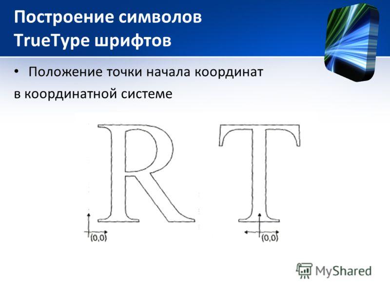 Построение символов TrueType шрифтов Положение точки начала координат в координатной системе