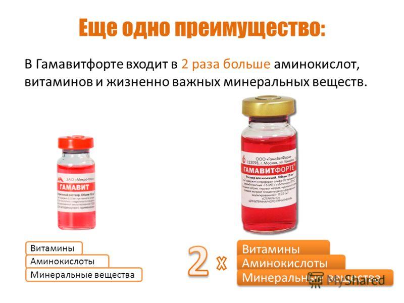 Еще одно преимущество: В Гамавитфорте входит в 2 раза больше аминокислот, витаминов и жизненно важных минеральных веществ. Витамины Аминокислоты Минеральные вещества Витамины Аминокислоты Минеральные вещества