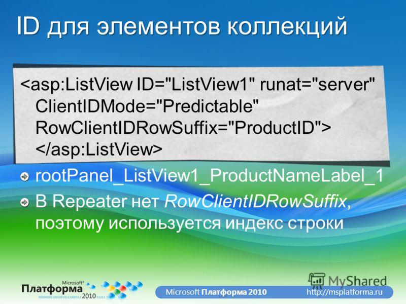 http://msplatforma.ruMicrosoft Платформа 2010 ID для элементов коллекций rootPanel_ListView1_ProductNameLabel_1 В Repeater нет RowClientIDRowSuffix, поэтому используется индекс строки