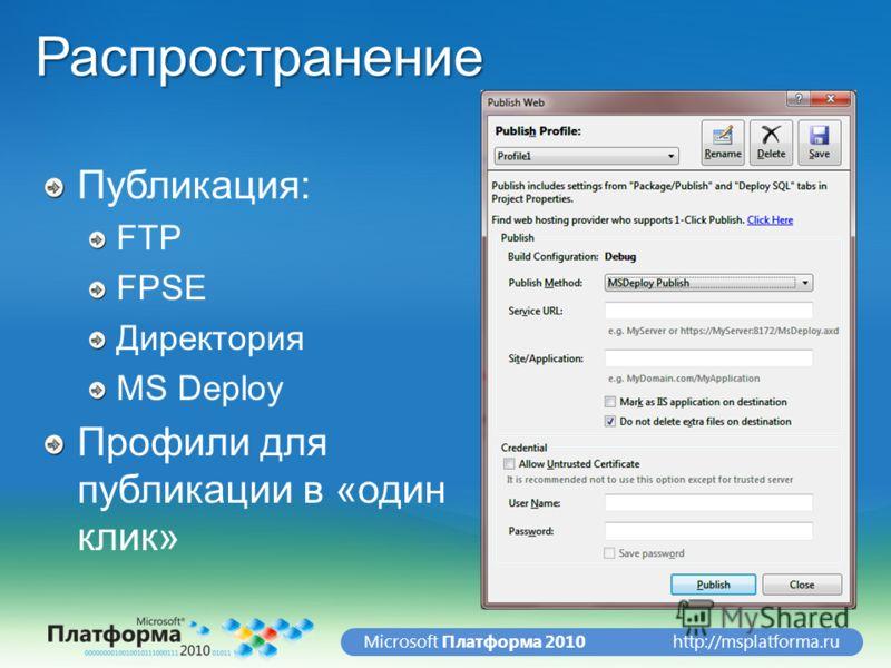 http://msplatforma.ruMicrosoft Платформа 2010Распространение Публикация: FTP FPSE Директория MS Deploy Профили для публикации в «один клик»