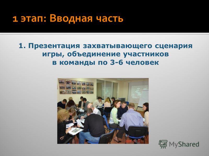1. Презентация захватывающего сценария игры, объединение участников в команды по 3-6 человек