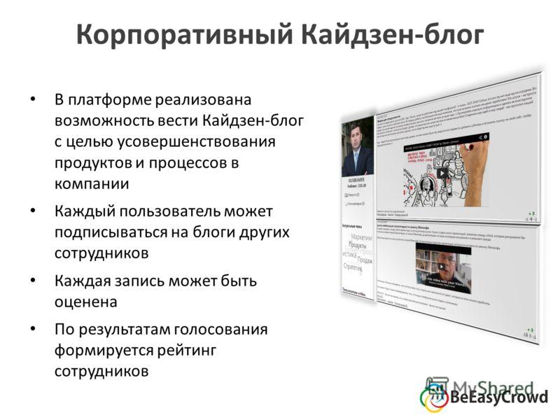 Корпоративный Кайдзен-блог В платформе реализована возможность вести Кайдзен-блог с целью усовершенствования продуктов и процессов в компании Каждый пользователь может подписываться на блоги других сотрудников Каждая запись может быть оценена По резу