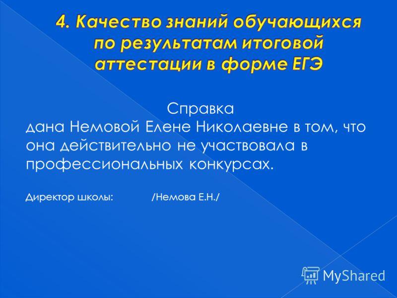 Справка дана Немовой Елене Николаевне в том, что она действительно не участвовала в профессиональных конкурсах. Директор школы: /Немова Е.Н./
