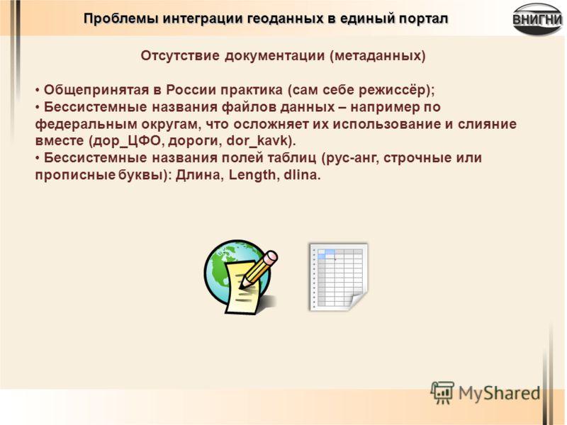 Отсутствие документации (метаданных) Общепринятая в России практика (сам себе режиссёр); Бессистемные названия файлов данных – например по федеральным округам, что осложняет их использование и слияние вместе (дор_ЦФО, дороги, dor_kavk). Бессистемные