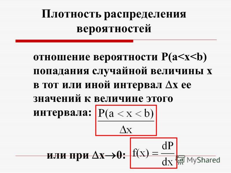 Плотность распределения вероятностей отношение вероятности Р(a