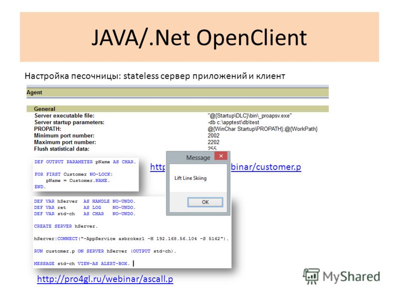 JAVA/.Net OpenClient Настройка песочницы: stateless сервер приложений и клиент http://pro4gl.ru/webinar/customer.p http://pro4gl.ru/webinar/ascall.p