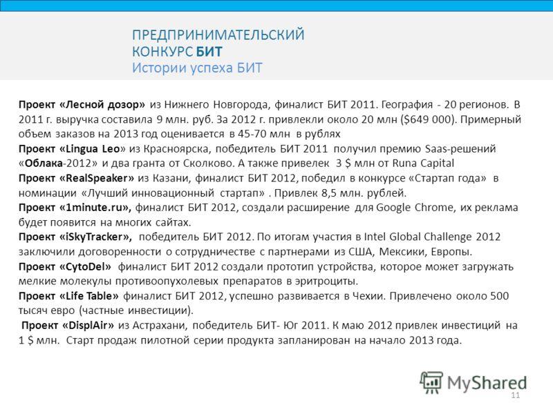 ПРЕДПРИНИМАТЕЛЬСКИЙ КОНКУРС БИТ Истории успеха БИТ 11 Проект «Лесной дозор» из Нижнего Новгорода, финалист БИТ 2011. География - 20 регионов. В 2011 г. выручка составила 9 млн. руб. За 2012 г. привлекли около 20 млн ($649 000). Примерный объем заказо