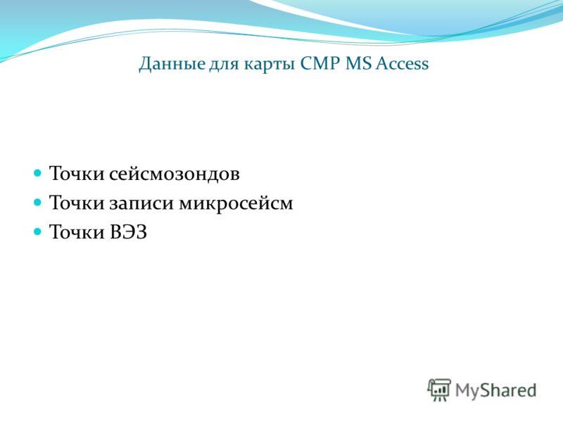 Точки сейсмозондов Точки записи микросейсм Точки ВЭЗ Данные для карты СМР MS Access