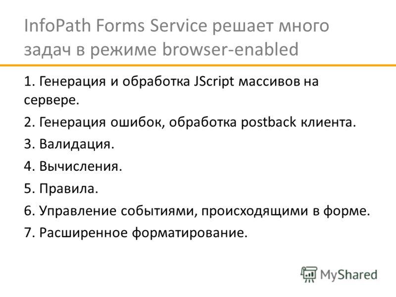 InfoPath Forms Service решает много задач в режиме browser-enabled 1. Генерация и обработка JScript массивов на сервере. 2. Генерация ошибок, обработка postback клиента. 3. Валидация. 4. Вычисления. 5. Правила. 6. Управление событиями, происходящими