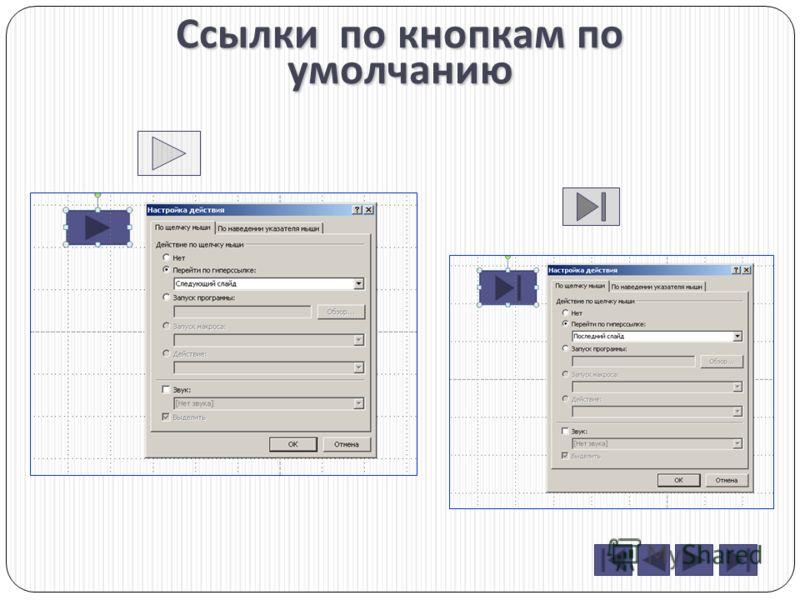 Изменение дизайна кнопок Вид кнопки при вставке Вызов форматирования Панель форматирования Варианты форматирования кнопки назад