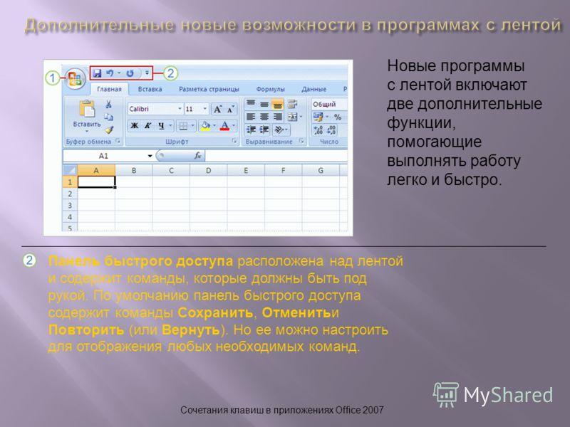 Сочетания клавиш в приложениях Office 2007 Новые программы с лентой включают две дополнительные функции, помогающие выполнять работу легко и быстро. Панель быстрого доступа расположена над лентой и содержит команды, которые должны быть под рукой. По