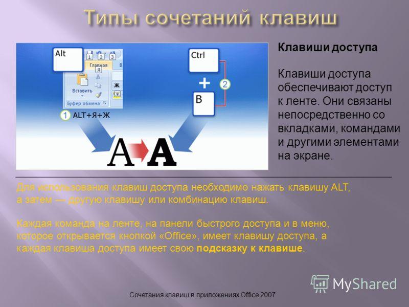Сочетания клавиш в приложениях Office 2007 Клавиши доступа Для использования клавиш доступа необходимо нажать клавишу ALT, а затем другую клавишу или комбинацию клавиш. Каждая команда на ленте, на панели быстрого доступа и в меню, которое открывается