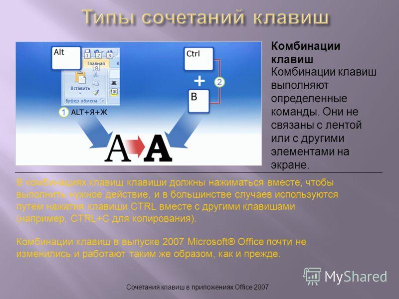 Сочетания клавиш в приложениях Office 2007 Комбинации клавиш В комбинациях клавиш клавиши должны нажиматься вместе, чтобы выполнить нужное действие, и в большинстве случаев используются путем нажатия клавиши CTRL вместе с другими клавишами (например,