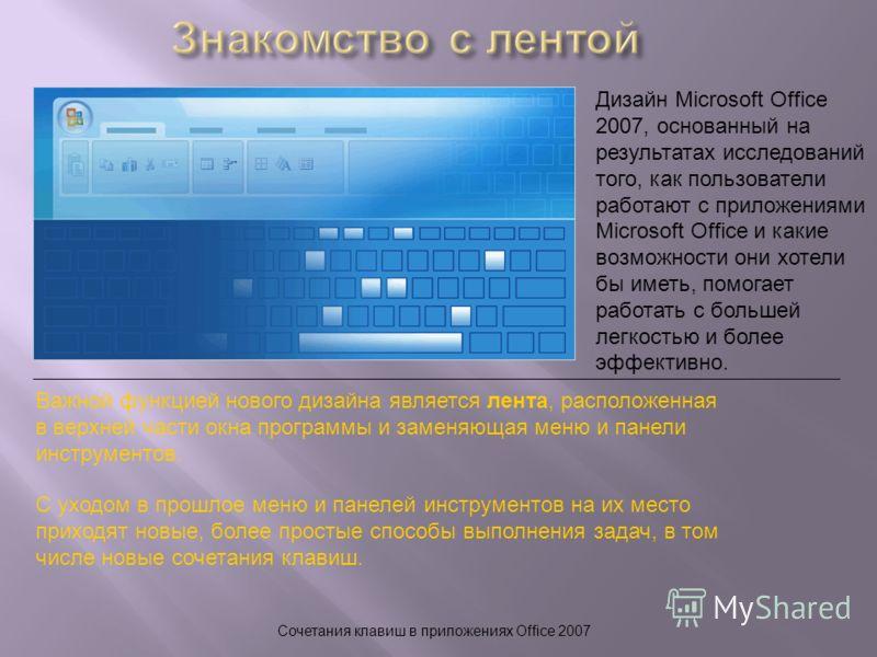 Сочетания клавиш в приложениях Office 2007 Дизайн Microsoft Office 2007, основанный на результатах исследований того, как пользователи работают с приложениями Microsoft Office и какие возможности они хотели бы иметь, помогает работать с большей легко