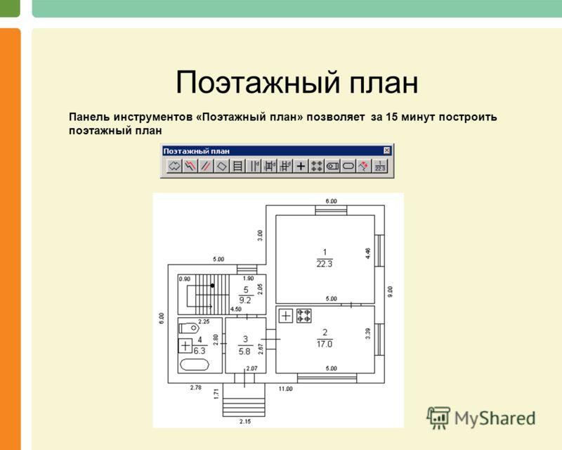 Поэтажный план Панель инструментов «Поэтажный план» позволяет за 15 минут построить поэтажный план