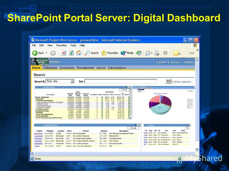 SharePoint Portal Server: Digital Dashboard