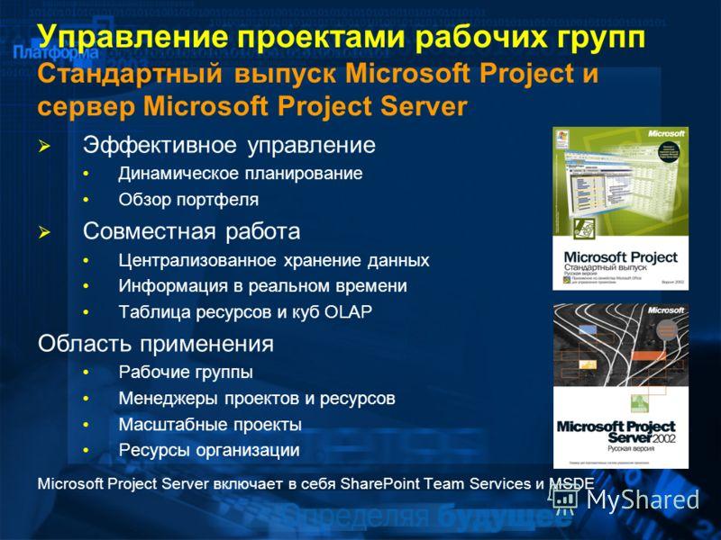 Управление проектами рабочих групп Стандартный выпуск Microsoft Project и сервер Microsoft Project Server Эффективное управление Динамическое планирование Обзор портфеля Совместная работа Централизованное хранение данных Информация в реальном времени