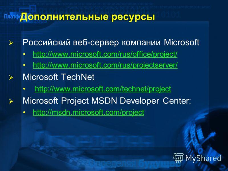 Дополнительные ресурсы Российский веб-сервер компании Microsoft http://www.microsoft.com/rus/office/project/ http://www.microsoft.com/rus/projectserver/ Microsoft TechNet http://www.microsoft.com/technet/projecthttp://www.microsoft.com/technet/projec