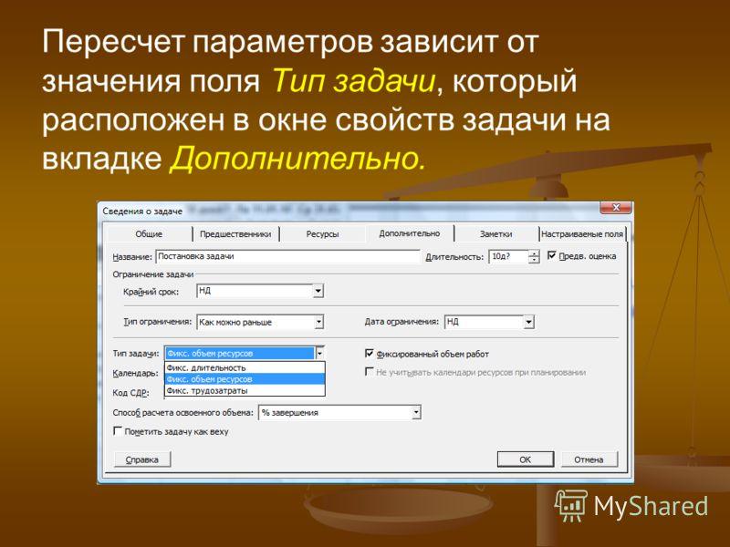 Пересчет параметров зависит от значения поля Тип задачи, который расположен в окне свойств задачи на вкладке Дополнительно.