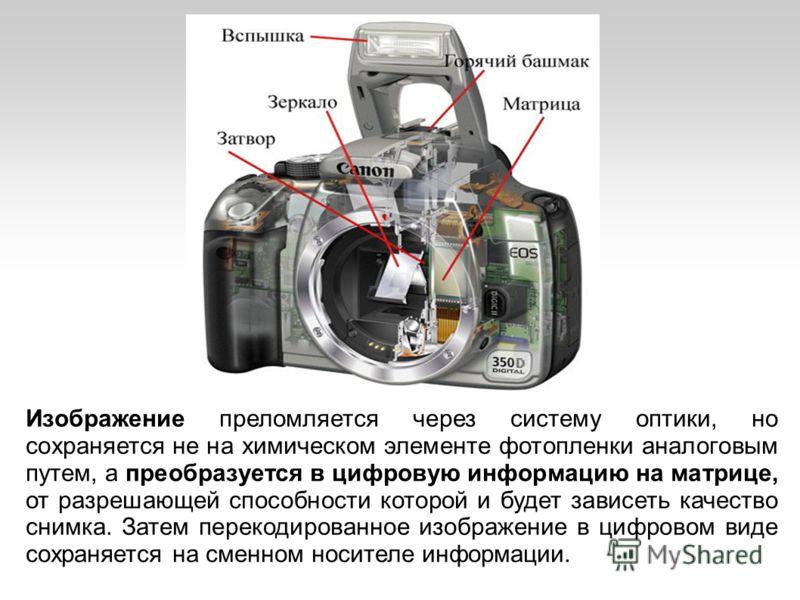 Изображение преломляется через систему оптики, но сохраняется не на химическом элементе фотопленки аналоговым путем, а преобразуется в цифровую информацию на матрице, от разрешающей способности которой и будет зависеть качество снимка. Затем перекоди
