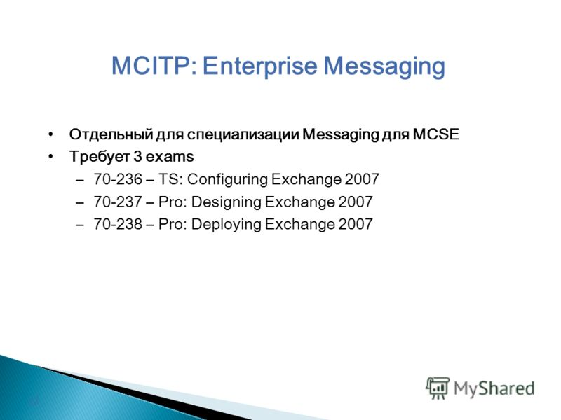 MCITP: Enterprise Messaging Отдельный для специализации Messaging для MCSE Требует 3 exams –70-236 – TS: Configuring Exchange 2007 –70-237 – Pro: Designing Exchange 2007 –70-238 – Pro: Deploying Exchange 2007 12