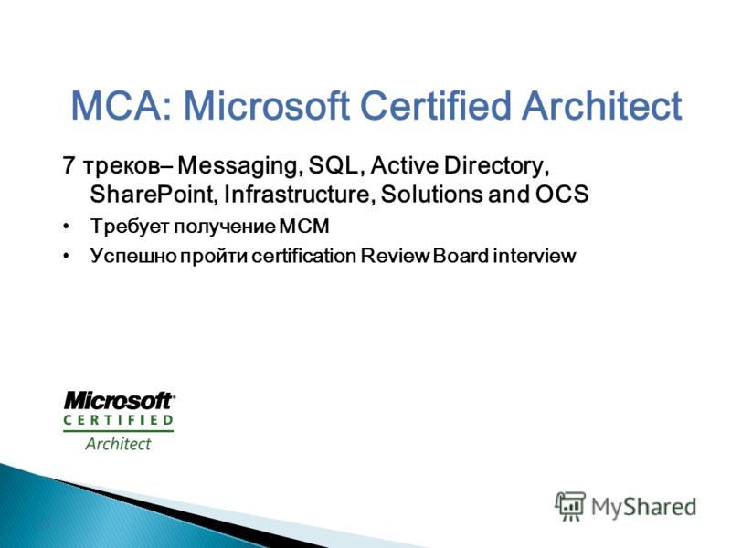 MCA: Microsoft Certified Architect 7 треков– Messaging, SQL, Active Directory, SharePoint, Infrastructure, Solutions and OCS Требует получение MCM Успешно пройти certification Review Board interview 15