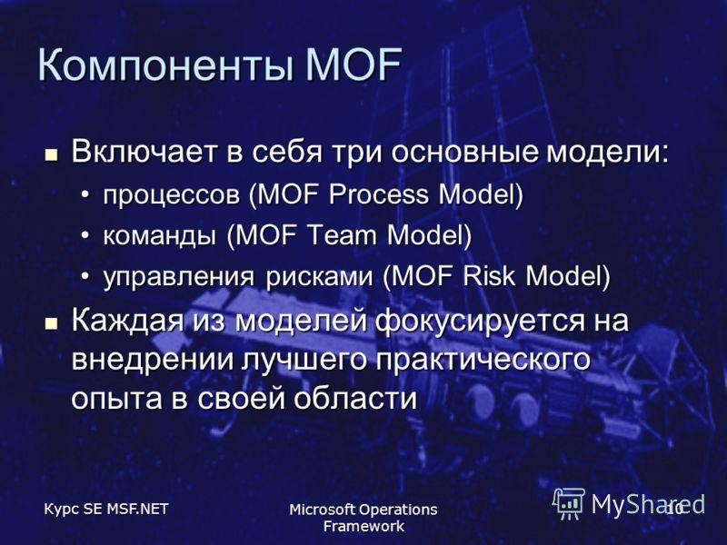 Курс SE MSF.NET Microsoft Operations Framework 10 Компоненты MOF Включает в себя три основные модели: Включает в себя три основные модели: процессов (MOF Process Model)процессов (MOF Process Model) команды (MOF Team Model)команды (MOF Team Model) упр
