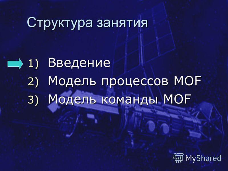 Структура занятия 1) Введение 2) Модель процессов MOF 3) Модель команды MOF