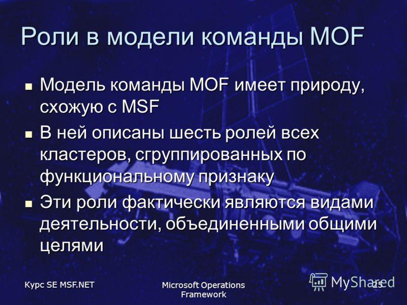 Курс SE MSF.NET Microsoft Operations Framework 25 Роли в модели команды MOF Модель команды MOF имеет природу, схожую с MSF Модель команды MOF имеет природу, схожую с MSF В ней описаны шесть ролей всех кластеров, сгруппированных по функциональному при