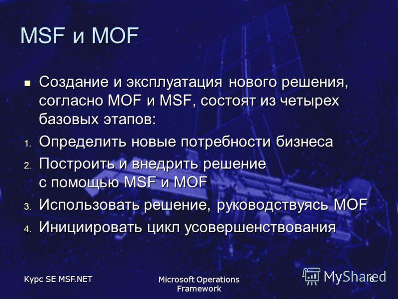 Курс SE MSF.NET Microsoft Operations Framework 6 MSF и MOF Создание и эксплуатация нового решения, согласно MOF и MSF, состоят из четырех базовых этапов: Создание и эксплуатация нового решения, согласно MOF и MSF, состоят из четырех базовых этапов: 1