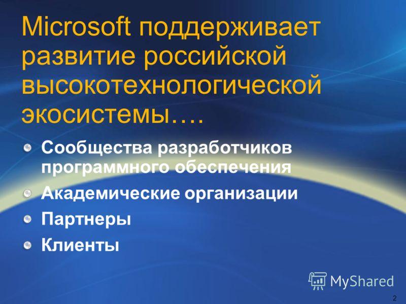 Microsoft поддерживает развитие российской высокотехнологической экосистемы…. Сообщества разработчиков программного обеспечения Академические организации Партнеры Клиенты 2
