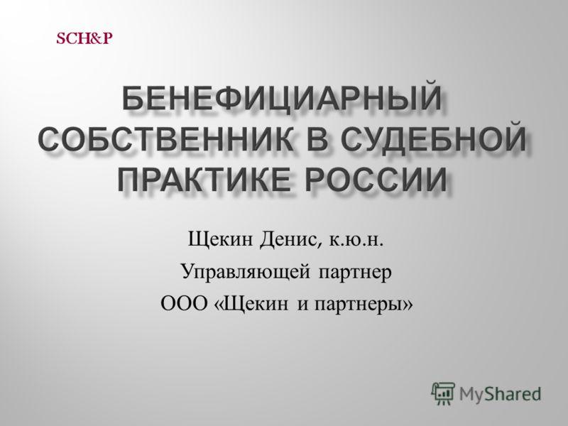 Щекин Денис, к. ю. н. Управляющей партнер ООО « Щекин и партнеры »