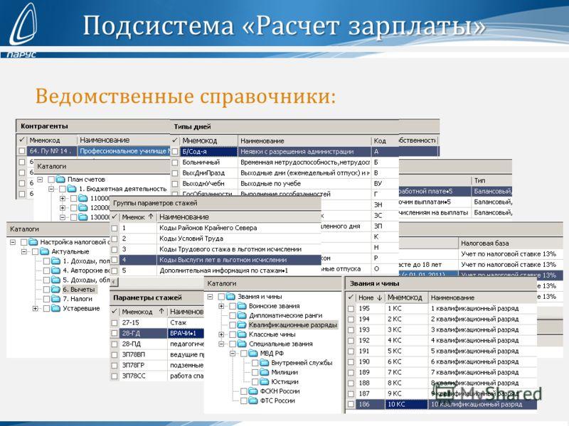 Подсистема «Расчет зарплаты» Ведомственные справочники: