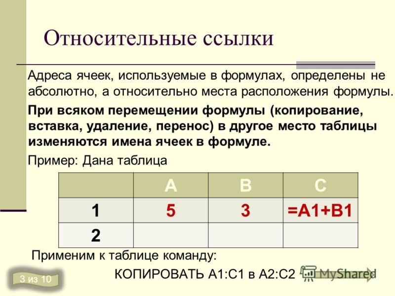 Относительные ссылки Адреса ячеек, используемые в формулах, определены не абсолютно, а относительно места расположения формулы. При всяком перемещении формулы (копирование, вставка, удаление, перенос) в другое место таблицы изменяются имена ячеек в ф