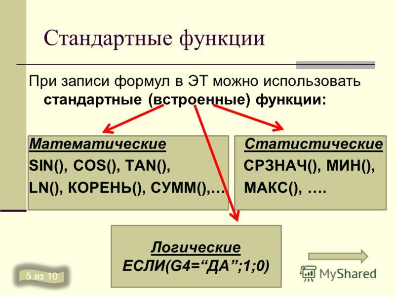 Стандартные функции При записи формул в ЭТ можно использовать стандартные (встроенные) функции: Математические Статистические SIN(), COS(), TAN(), СРЗНАЧ(), МИН(), LN(), КОРЕНЬ(), СУММ(),… МАКС(), …. 5 из 10 Логические ЕСЛИ(G4=ДА;1;0)