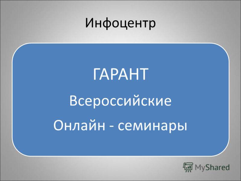 Инфоцентр ГАРАНТ Всероссийские Онлайн - семинары